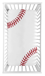 Baseball Boy Fitted Crib Sheet Baby or Toddler Bed Nursery Photo Op by Sweet Jojo Designs - Red and White Americana Sports