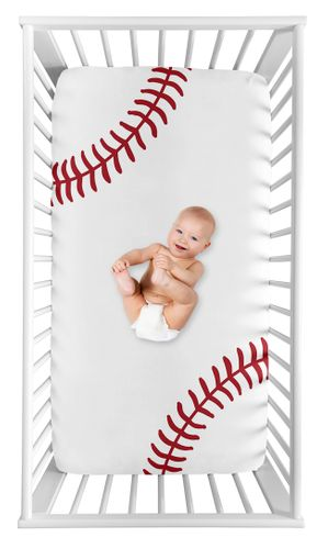 Baseball Boy Fitted Crib Sheet Baby or Toddler Bed Nursery Photo Op by Sweet Jojo Designs - Red and White Americana Sports - Click to enlarge