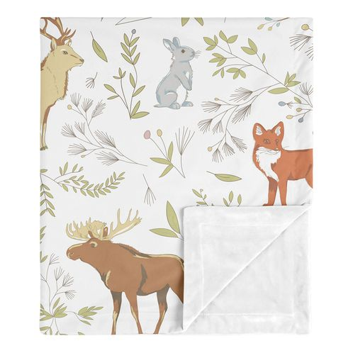 Bear Deer Fox Woodland Animal Toile Baby Boy or Girl Receiving Security Swaddle Blanket for Newborn or Toddler Nursery Car Seat Stroller Soft Minky by Sweet Jojo Designs - Grey, Green, and Brown - Click to enlarge