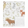 Bear Deer Fox Woodland Animal Toile Baby Boy or Girl Receiving Security Swaddle Blanket for Newborn or Toddler Nursery Car Seat Stroller Soft Minky by Sweet Jojo Designs - Grey, Green, and Brown