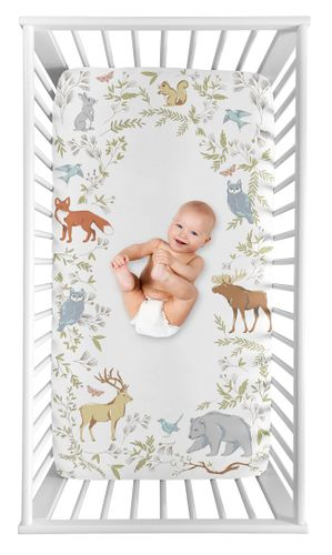Woodland Animal Toile Boy or Girl Fitted Crib Sheet Baby or Toddler Bed Nursery Photo Op by Sweet Jojo Designs - Grey, Green, and Brown Bear Deer Fox - Click to enlarge
