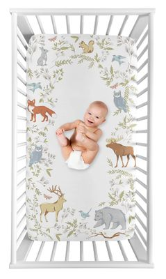 Woodland Animal Toile Boy or Girl Fitted Crib Sheet Baby or Toddler Bed Nursery Photo Op by Sweet Jojo Designs - Grey, Green, and Brown Bear Deer Fox