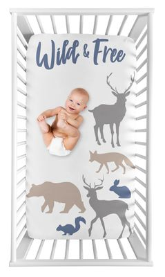 Woodland Animals Boy Fitted Crib Sheet Baby or Toddler Bed Nursery Photo Op by Sweet Jojo Designs - Blue, Grey and Tan Wild and Free Bear Deer Fox