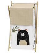 Bear Forest Animal Baby Kid Clothes Laundry Hamper for Woodland Pals Collection by Sweet Jojo Designs - Neutral Beige, Green, Black and White