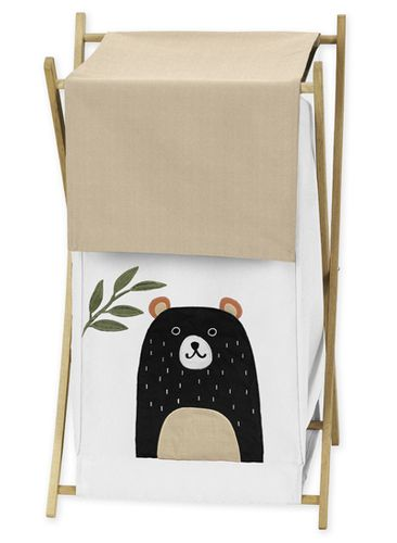 Bear Forest Animal Baby Kid Clothes Laundry Hamper for Woodland Pals Collection by Sweet Jojo Designs - Neutral Beige, Green, Black and White - Click to enlarge