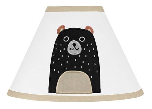 Bear Forest Animal Lamp Shade for Woodland Pals Collection by Sweet Jojo Designs - Neutral Beige, Black and White - Click to enlarge