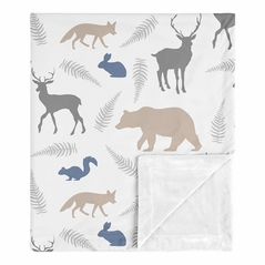 Bear Gray Deer Fox Woodland Animals Baby Boy Receiving Security Swaddle Blanket for Newborn or Toddler Nursery Car Seat Stroller Soft Minky by Sweet Jojo Designs - Beige, Blue and Grey