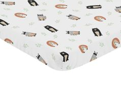 Bear Hedgehog Forest Animal Unisex Boy or Girl Baby Nursery Fitted Mini Portable Crib Sheet for Woodland Pals Collection by Sweet Jojo Designs For Mini Crib or Pack and Play ONLY - Neutral Beige, Green, Black and Grey