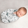 Bear Mountain Baby Boy Swaddle Blanket Jersey Stretch Knit for Newborn or Infant Receiving Security by Sweet Jojo Designs - Slate Blue and Black Woodland Forest Animal