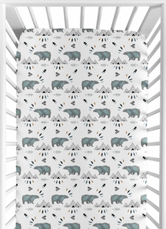 Bear Mountain Boy Jersey Stretch Knit Baby Fitted Crib Sheet for Soft Toddler Bed Nursery by Sweet Jojo Designs - Slate Blue and Black Woodland Forest Animal