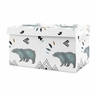 Bear Mountain Boy Small Fabric Toy Bin Storage Box Chest For Baby Nursery or Kids Room by Sweet Jojo Designs - Watercolor Slate Blue, Black and White