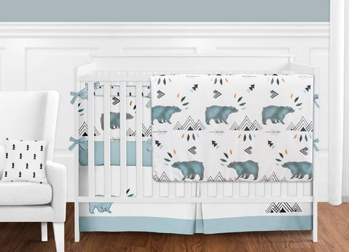 Bear Mountain Watercolor Baby Boy Crib Bedding Set with Bumper by Sweet Jojo Designs - 9 pieces - Click to enlarge