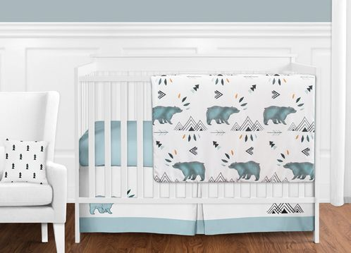 Bear Mountain Watercolor Baby Boy Crib Bedding Set without Bumper by Sweet Jojo Designs - 11 pieces - Click to enlarge