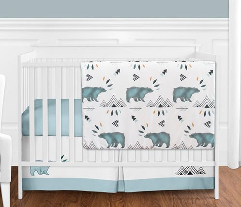 Bear Mountain Watercolor Baby Boy Crib Bedding Set without Bumper by Sweet Jojo Designs - 4 pieces - Click to enlarge