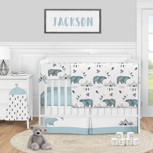 Bear Mountain Watercolor Baby Boy Nursery Crib Bedding Set by Sweet Jojo Designs - 5 pieces - Slate Blue and Black Woodland Animal - Click to enlarge