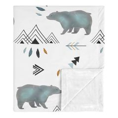 Bear Mountain Watercolor Baby Boy Receiving Security Swaddle Blanket for Newborn or Toddler Nursery Car Seat Stroller Soft Minky by Sweet Jojo Designs - Slate Blue, Black and White
