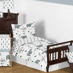 Bear Mountain Watercolor Boy Toddler Kid Childrens Bedding Set by Sweet Jojo Designs - 5 pieces Comforter, Sham and Sheets