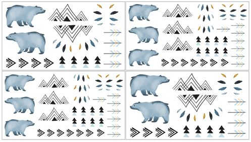 Bear Mountain Watercolor Peel and Stick Wall Decal Stickers Art Nursery Decor by Sweet Jojo Designs - set of 4 sheets - Click to enlarge