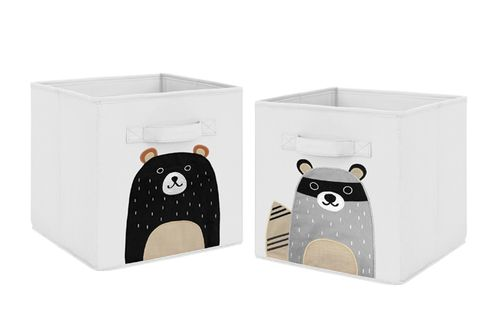 Bear Raccoon Forest Animal Foldable Fabric Storage Cube Bins Boxes Organizer Toys Kids Baby Childrens for Woodland Pals Collection by Sweet Jojo Designs - Set of 2 - Neutral Beige, Grey, Black and White - Click to enlarge