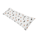 Bear Raccoon Hedgehog Forest Animal Body Pillow Case Cover for Woodland Pals Collection by Sweet Jojo Designs (Pillow Not Included) - Neutral Beige, Green, Black and Grey