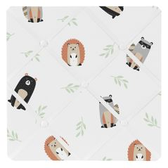 Bear Raccoon Hedgehog Forest Animal Fabric Memory Memo Photo Bulletin Board for Woodland Pals Collection by Sweet Jojo Designs - Neutral Beige, Green, Black and Grey