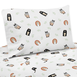 Bear Raccoon Hedgehog Forest Animal Queen Sheet Set for Woodland Pals Collection by Sweet Jojo Designs - 4 piece set - Neutral Beige, Green, Black and Grey