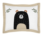 Bear Raccoon Hedgehog Forest Animal Standard Pillow Sham for Woodland Pals Collection by Sweet Jojo Designs - Neutral Beige, Green, Black and Grey