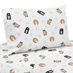Bear Raccoon Hedgehog Forest Animal Twin Sheet Set for Woodland Pals Collection by Sweet Jojo Designs - 3 piece set - Neutral Beige, Green, Black and Grey