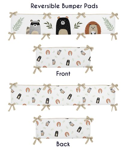 Bear Raccoon Hedgehog Forest Animal Unisex Boy or Girl Baby Nursery Crib Bumper Pad for Woodland Pals Collection by Sweet Jojo Designs - Neutral Beige, Green, Black and Grey - Click to enlarge
