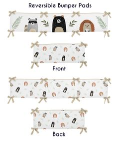 Bear Raccoon Hedgehog Forest Animal Unisex Boy or Girl Baby Nursery Crib Bumper Pad for Woodland Pals Collection by Sweet Jojo Designs - Neutral Beige, Green, Black and Grey