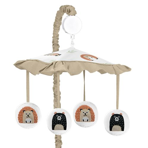 Bear Raccoon Hedgehog Forest Animal Unisex Boy or Girl Baby Nursery Musical Crib Mobile for Woodland Pals Collection by Sweet Jojo Designs - Neutral Beige, Green, Black and Grey - Click to enlarge