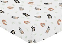 Bear Raccoon Hedgehog Forest Animal Unisex Boy or Girl Baby or Toddler Nursery Fitted Crib Sheet for Woodland Pals Collection by Sweet Jojo Designs - Neutral Beige, Green, Black and Grey