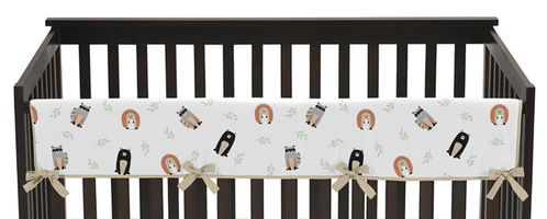 Bear Raccoon Hedgehog Forest Animal Unisex Boy or Girl Long Front Crib Rail Guard Baby Teething Cover Protector Wrap for Woodland Pals Collection by Sweet Jojo Designs - Neutral Beige, Green, Black and Grey - Click to enlarge