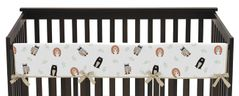 Bear Raccoon Hedgehog Forest Animal Unisex Boy or Girl Long Front Crib Rail Guard Baby Teething Cover Protector Wrap for Woodland Pals Collection by Sweet Jojo Designs - Neutral Beige, Green, Black and Grey