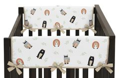 Bear Raccoon Hedgehog Forest Animal Unisex Boy or Girl Side Crib Rail Guards Baby Teething Cover Protector Wrap for Woodland Pals Collection by Sweet Jojo Designs - Set of 2 - Neutral Beige, Green, Black and Grey