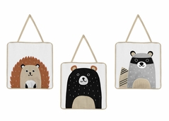 Bear Raccoon Hedgehog Forest Animal Wall Hanging Decor for Woodland Pals Collection by Sweet Jojo Designs - Set of 3 - Neutral Beige, Black and Grey