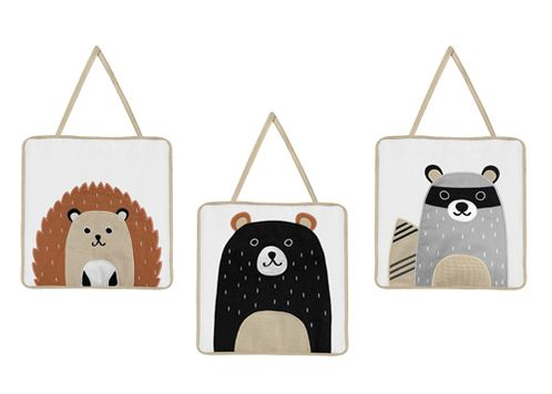 Bear Raccoon Hedgehog Forest Animal Wall Hanging Decor for Woodland Pals Collection by Sweet Jojo Designs - Set of 3 - Neutral Beige, Black and Grey - Click to enlarge
