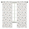 Bear Raccoon Hedgehog Forest Animal Window Treatment Panels Curtains for Woodland Pals Collection by Sweet Jojo Designs - Set of 2 - Neutral Beige, Green, Black and Grey