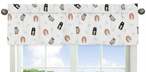 Bear Raccoon Hedgehog Forest Animal Window Treatment Valance for Woodland Pals Collection by Sweet Jojo Designs - Neutral Beige, Green, Black and Grey - Click to enlarge