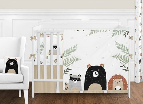 Bear Raccoon Hedgehog Forest Animal Woodland Pals Baby Unisex Boy or Girl Nursery Crib Bedding Set with Bumper by Sweet Jojo Designs - 9 pieces - Neutral Beige, Green, Black and Grey - Click to enlarge