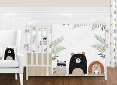 Bear Raccoon Hedgehog Forest Animal Woodland Pals Baby Unisex Boy or Girl Nursery Crib Bedding Set with Bumper by Sweet Jojo Designs - 9 pieces - Neutral Beige, Green, Black and Grey