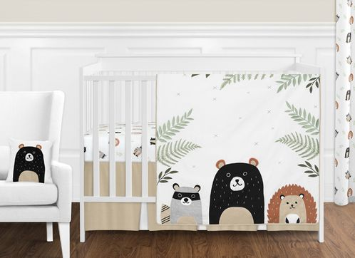 Bear Raccoon Hedgehog Forest Animal Woodland Pals Baby Unisex Boy or Girl Nursery Crib Bedding Set without Bumper by Sweet Jojo Designs - 11 pieces - Neutral Beige, Green, Black and Grey - Click to enlarge