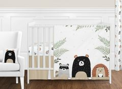 Bear Raccoon Hedgehog Forest Animal Woodland Pals Baby Unisex Boy or Girl Nursery Crib Bedding Set without Bumper by Sweet Jojo Designs - 11 pieces - Neutral Beige, Green, Black and Grey
