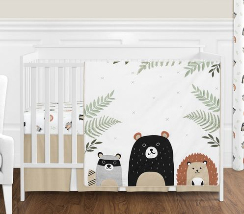 Bear Raccoon Hedgehog Forest Animal Woodland Pals Baby Unisex Boy or Girl Nursery Crib Bedding Set without Bumper by Sweet Jojo Designs - 4 pieces - Neutral Beige, Green, Black and Grey - Click to enlarge