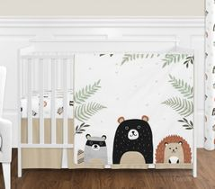 Bear Raccoon Hedgehog Forest Animal Woodland Pals Baby Unisex Boy or Girl Nursery Crib Bedding Set without Bumper by Sweet Jojo Designs - 4 pieces - Neutral Beige, Green, Black and Grey