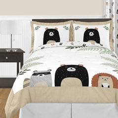 Bear Raccoon Hedgehog Forest Animal Woodland Pals Unisex Boy or Girl Full / Queen Size Kid Childrens Bedding Comforter Set by Sweet Jojo Designs - 3 pieces - Neutral Beige, Green, Black and Grey