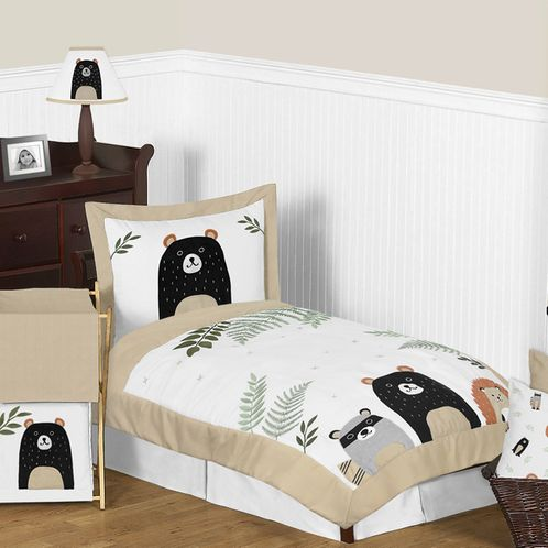 Bear Raccoon Hedgehog Forest Animal Woodland Pals Unisex Boy or Girl Toddler Kid Childrens Comforter Bedding Set by Sweet Jojo Designs - 5 pieces Comforter, Sham and Sheets - Neutral Beige, Green, Black and Grey - Click to enlarge