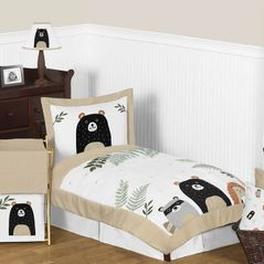 Bear Raccoon Hedgehog Forest Animal Woodland Pals Unisex Boy or Girl Toddler Kid Childrens Comforter Bedding Set by Sweet Jojo Designs - 5 pieces Comforter, Sham and Sheets - Neutral Beige, Green, Black and Grey