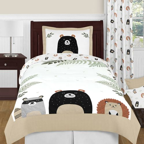 Bear Raccoon Hedgehog Forest Animal Woodland Pals Unisex Boy or Girl Twin Size Kid Childrens Bedding Comforter Set by Sweet Jojo Designs - 4 pieces - Neutral Beige, Green, Black and Grey - Click to enlarge