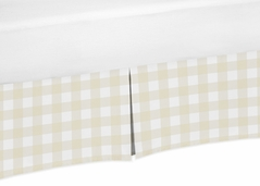 Beige and White Buffalo Plaid Check Baby Boy Pleated Baby Crib Bed Skirt Dust Ruffle for Woodland Camo Collection by Sweet Jojo Designs